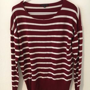 NWOT Maroon and white striped long sleeve